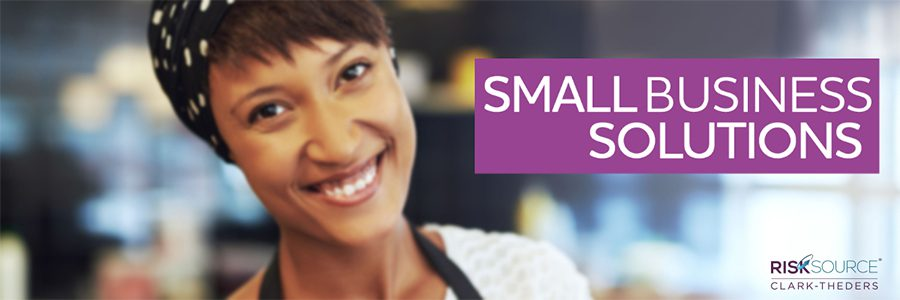 Small Business Solutions - Woman Smiling and Text Saying Small Business Solutions with Risk Source Logo in the Corner