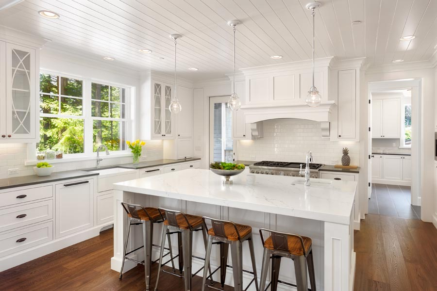 Header - Personal Insurance White Kitchen with Stools