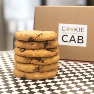 chocolate chip cookies in front of cookie cab
