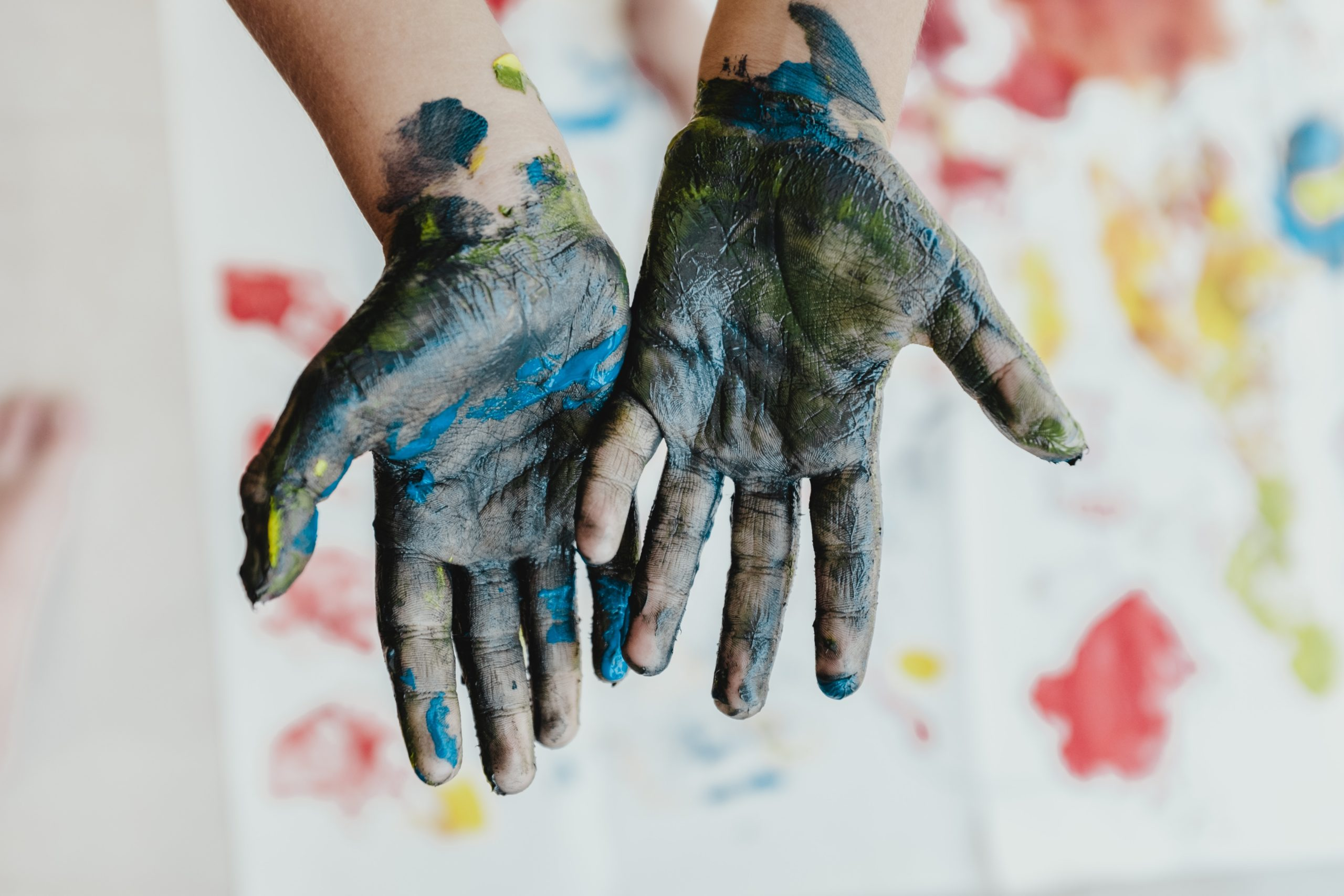 children's hands with paint