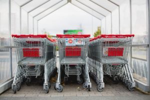 shopping carts cleanly lined up