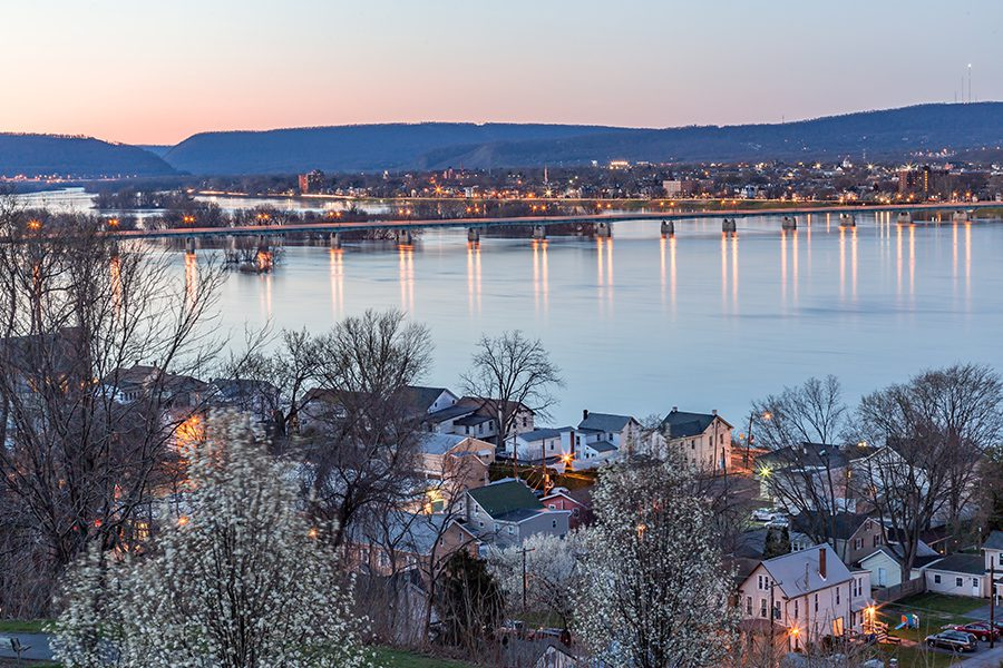 Wormleysburg, PA Insurance - View of Wormleysburg and the Susquehanna River from Negley Park at Dusk