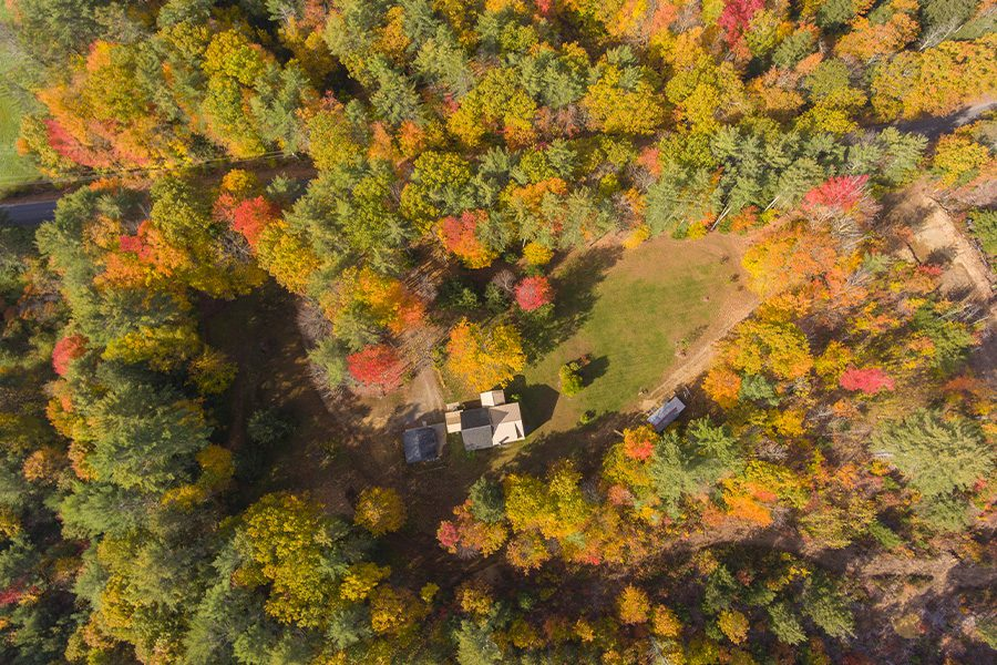 New Hampshire - Aerial Overhead View of Autumn Trees in Sanbornton, New Hampshire