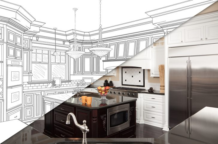 Kitchen real and planned