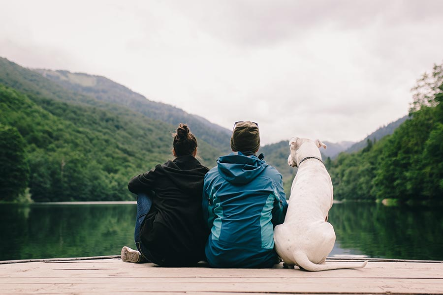 About Our Agency - Young Couple in Raincoats Sit at the End of a Dock Overlooking a Lake, Green Mountains on the Shore, Their Large White Dog by Their Side