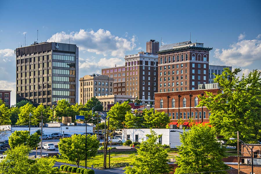 Business Insurance - View Of Commercial Buildings And Trees In Greenville South Carolina