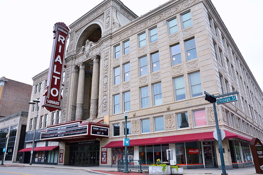 Joliet, IL - Angled View of the Rialto Square Theater on Chicago Street in Joliet, Illinois