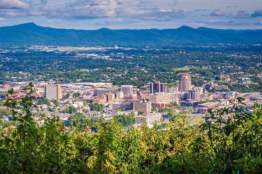 Virginia - View Of Roanoke Virginina From The Mountains