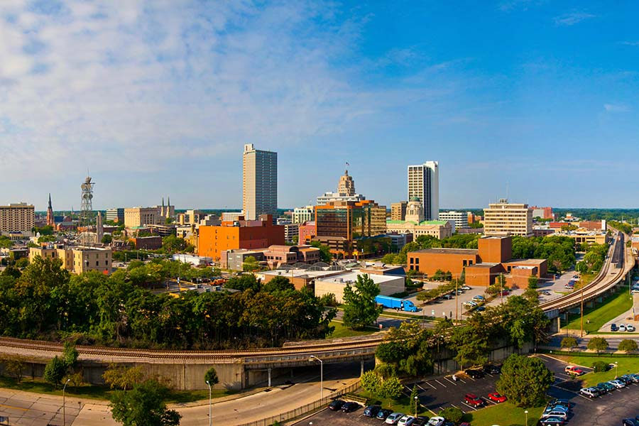 Fort Wayne IN - Skyline View Of Downtown Fort Wayne Indiana
