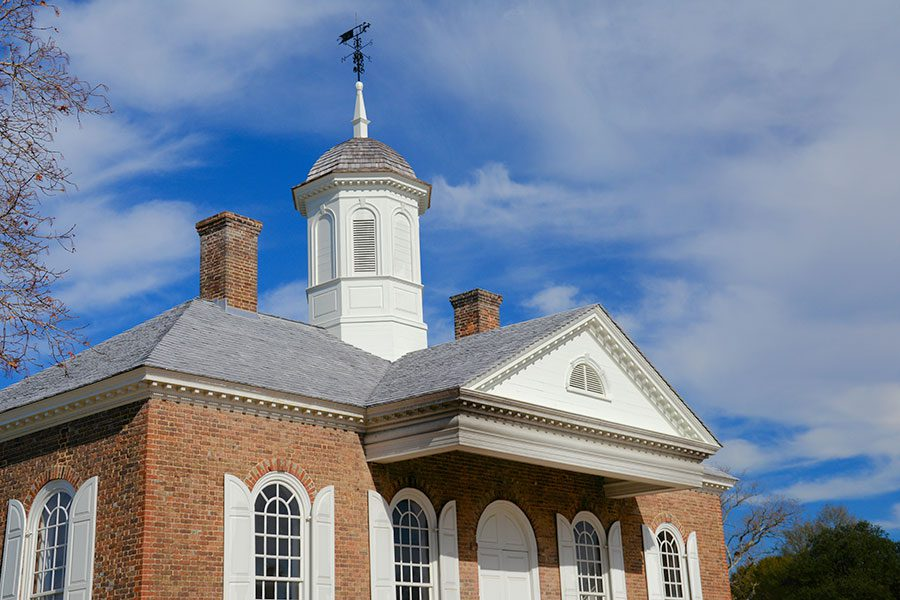 Williamsburg VA - Colonial Historical Building with Steeple with Blue Sky