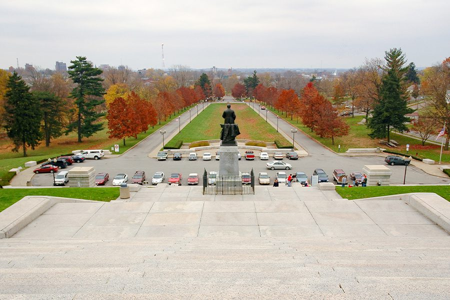 Canton, OH - View Looking Out Onto McKinley National Memorial in Canton, Ohio in the Fall