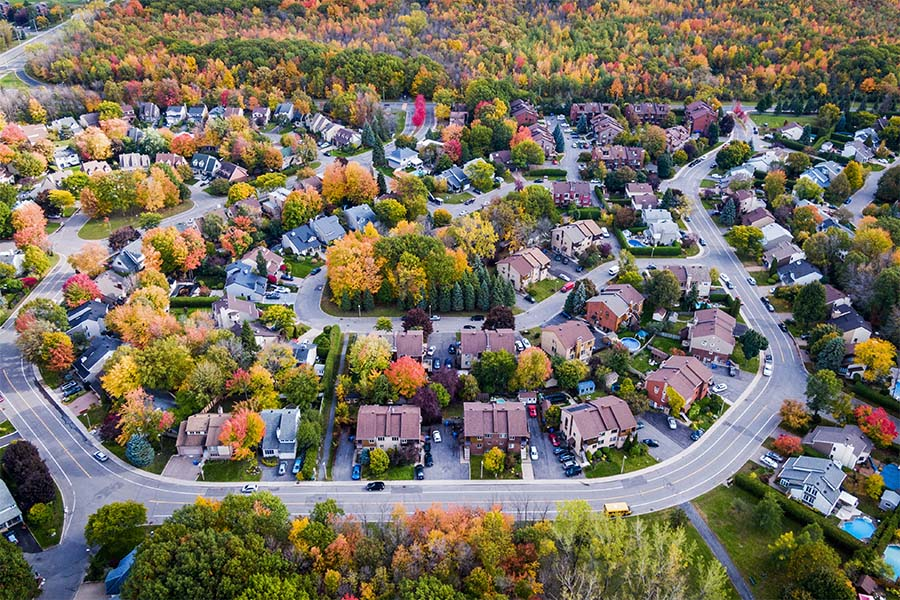 West Chester OH - Aerial View of Suburbs in West Chester Ohio