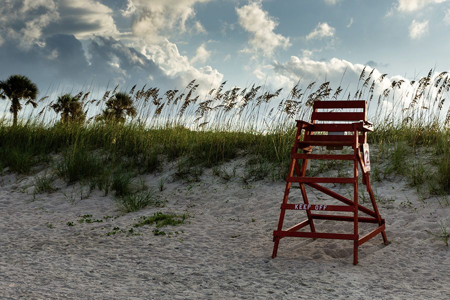Florida - Life guard stand on a Beach With Wind Blowing at Dusk