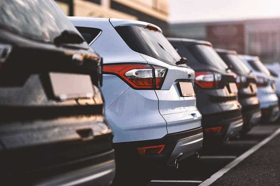 Specialized Business Insurance - Row of Cars Parked at a Car Dealership