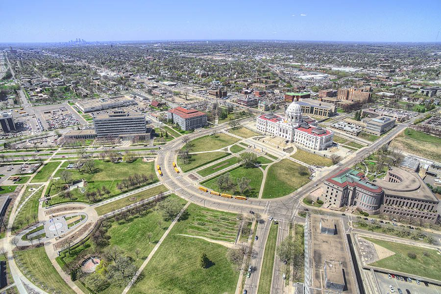 Minnesota - Aerial Drone View of State Capitol St. Paul, Minnesota and Surrounding Locations, Cities and Suburbs