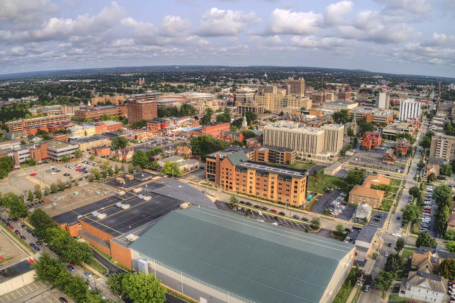 Erie PA - Aerial View Of Downtown Erie Pennsylvania