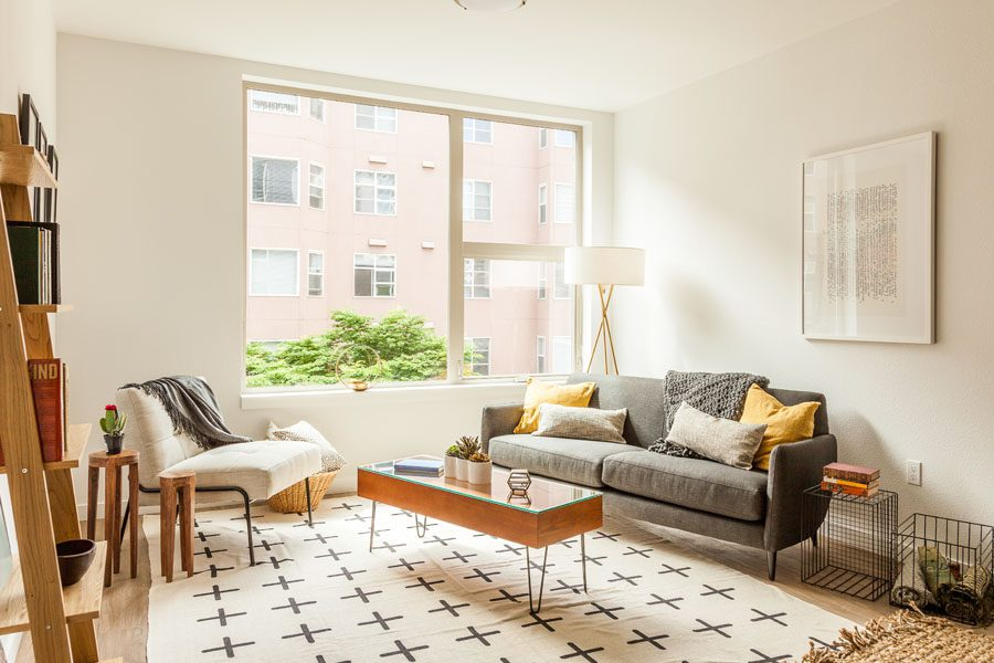 Renters Insurance - Modern Apartment with Geometric Shapes