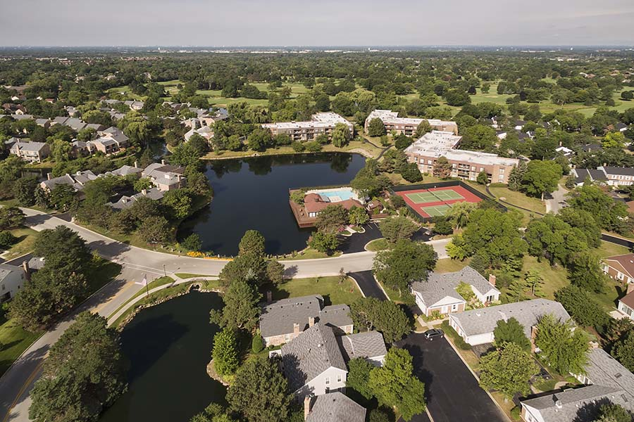 Northbrook IL - Aerial View Of The Small Suburban Town Of Northbrook Illinois