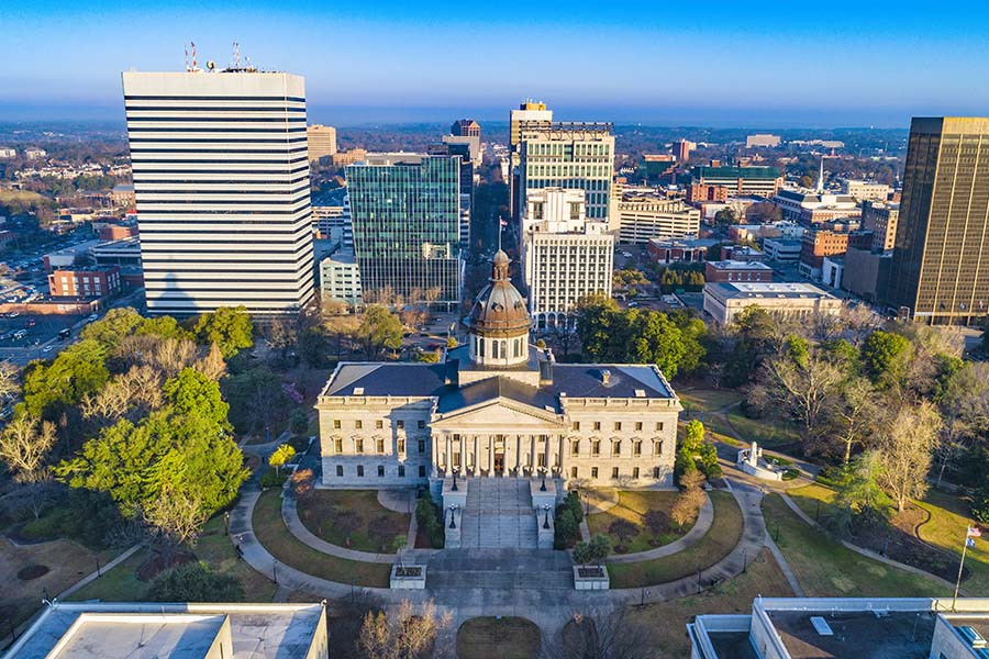 Contact - Aerial View of Downtown Columbia South Carolina