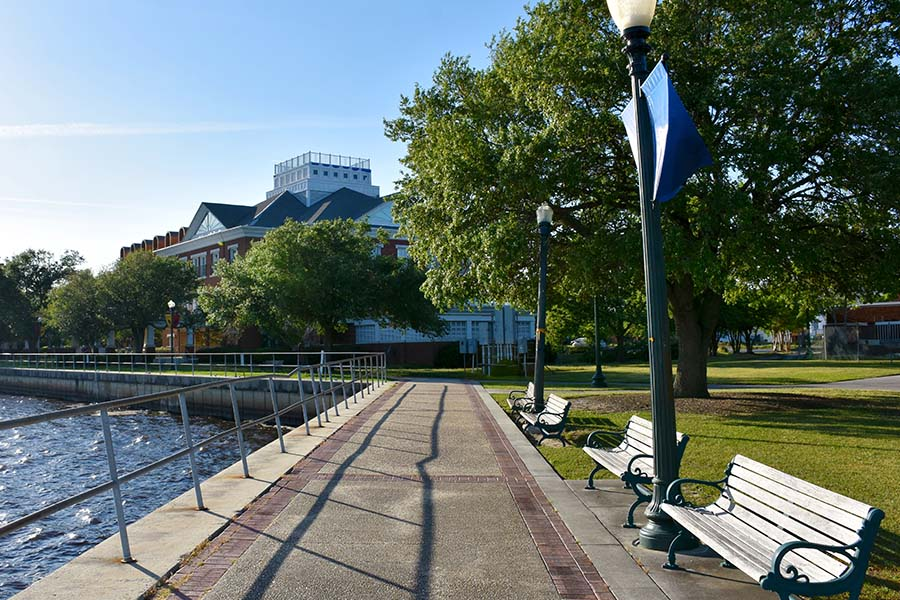 New Bern NC - View Of Park By The Water In New Bern North Carolina