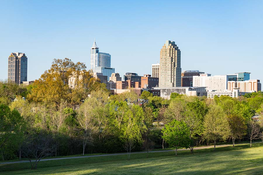 Raleigh NC - Skyline View Of City And Park In Raleigh North Carolina