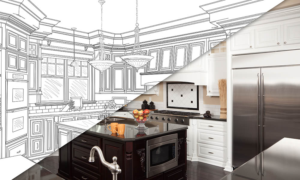 Blog - Home Renovations Drawing of Kitchen into Reality