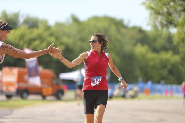 High five with runner