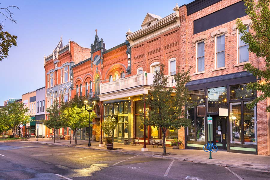 Morristown TN - Charming Row of Small Businesses in Downtown Morristown Tennessee