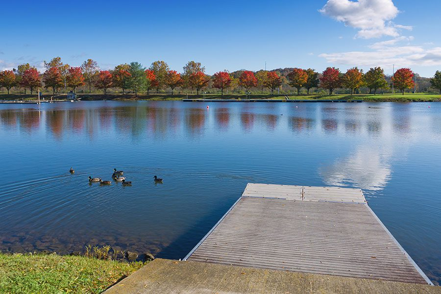 Oak Ridge TN - Peaceful Lake with Ducks and Marina in Oak Ridge Tennessee