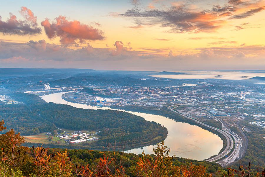 McMinnville, TN Insurance - View of City from Mountain Top at Sunset