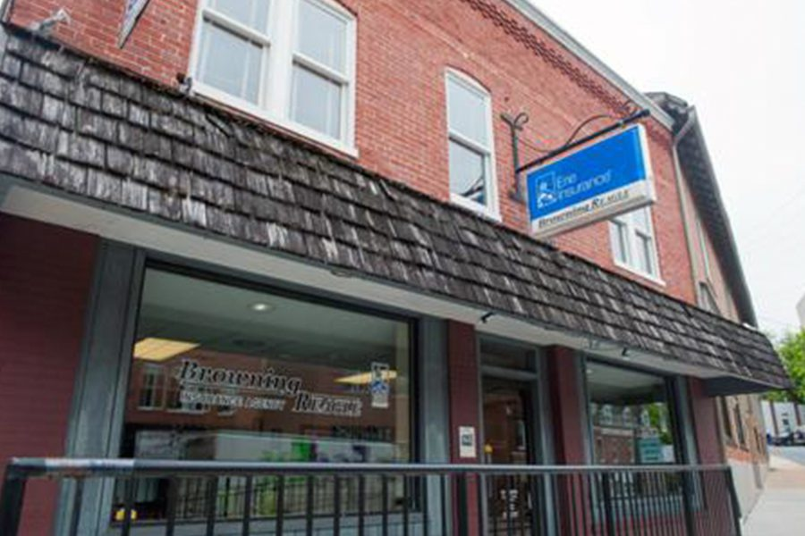 Mount Airy, MD - Main Street View of Browing Reagle Insurance Agency Office Located Downtown