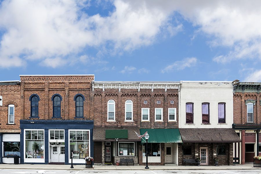 Kendallville IN - Row Of Buildings On Mainstreet In Downtown Kendallville Indiana