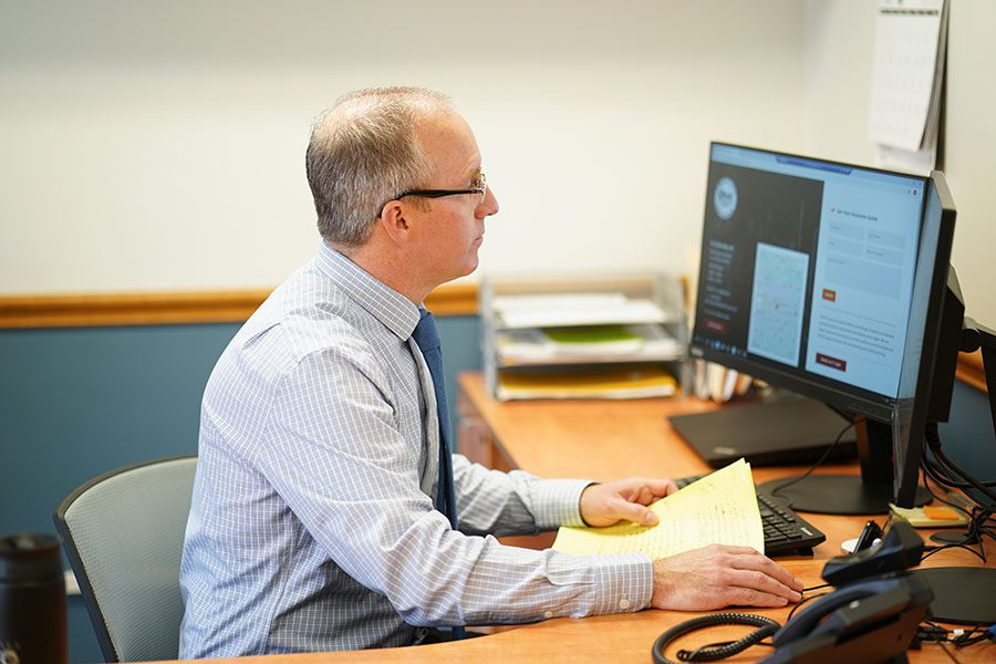 Contact - Photo of Matthew Steele Working in Office