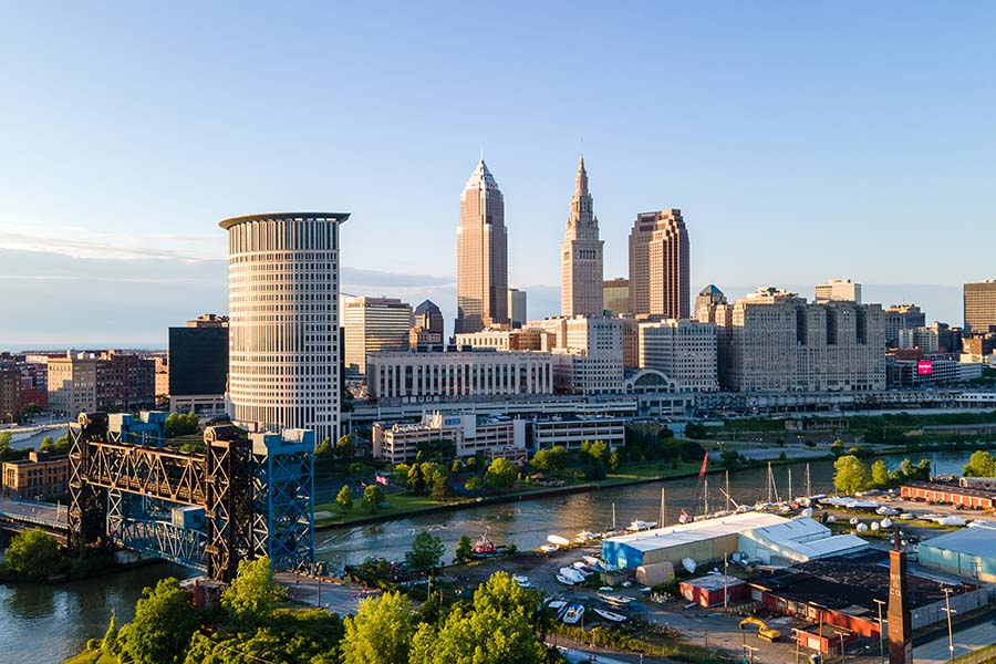 Cleveland OH - Skyline View of Cleveland Ohio Against Blue Sky