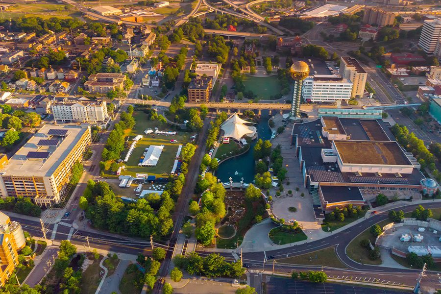 Tennessee - Aerial View of the World Fair Park in Knoxville Tennessee in the Morning with Sun Sphere