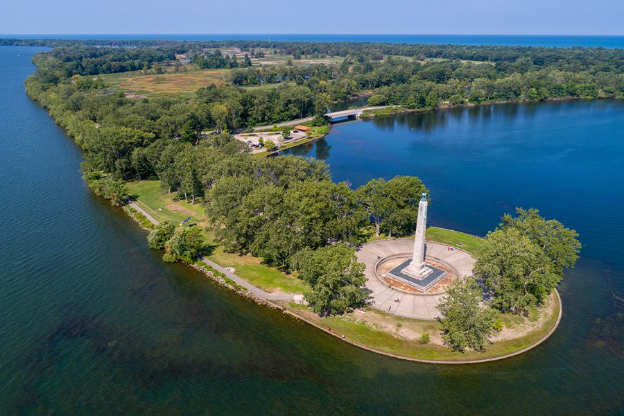 Pennsylvania - Aerial View of Presque Isle Peninsula Lake Erie Pennsylvania Perry Monument