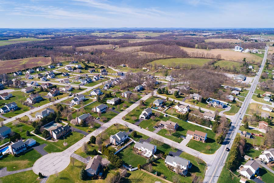 Pennsylvania - Aerial View Of Small Town In Pennsylvania