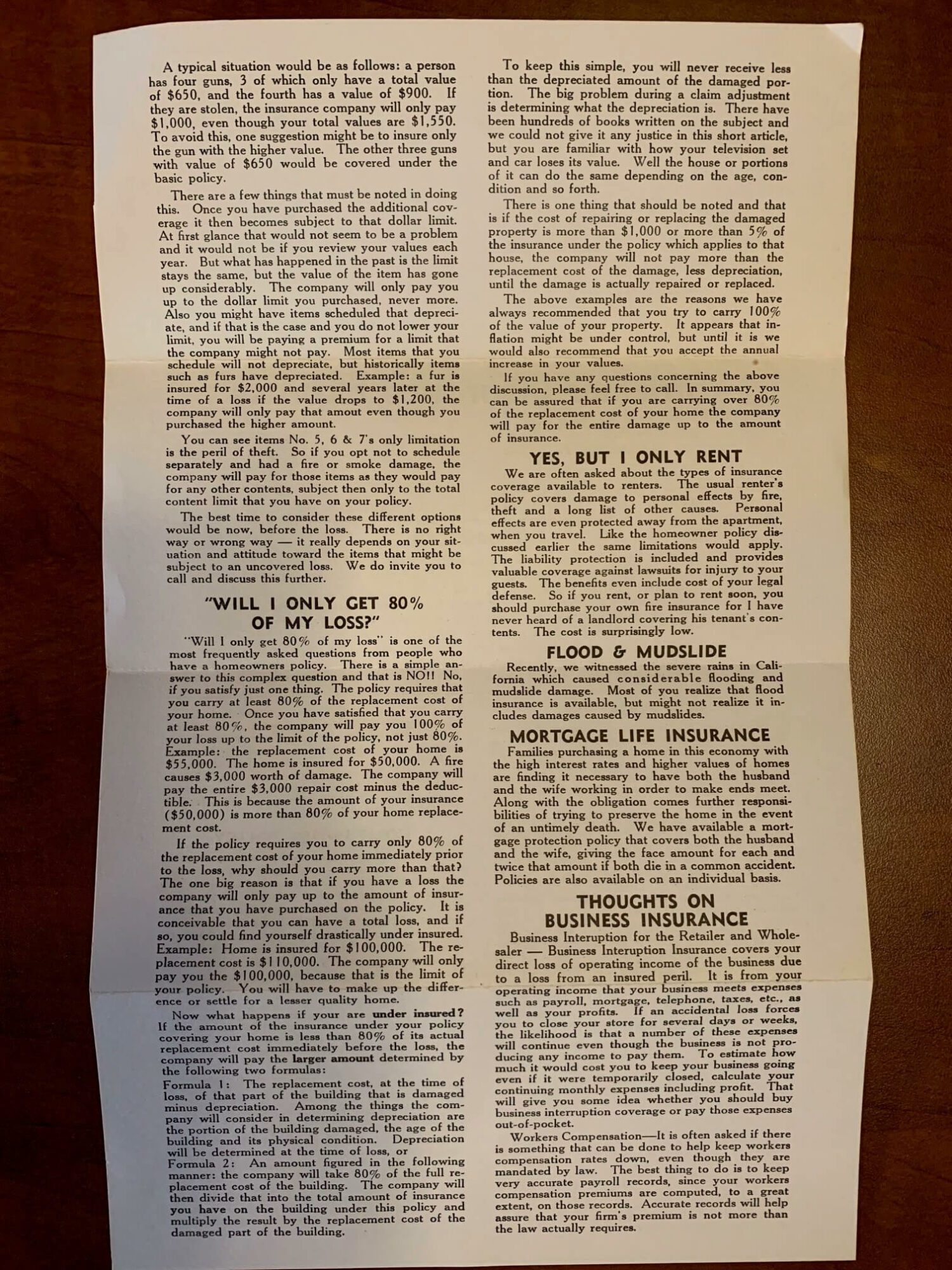 Strickler Express Insurance News From 1982 Back Page.