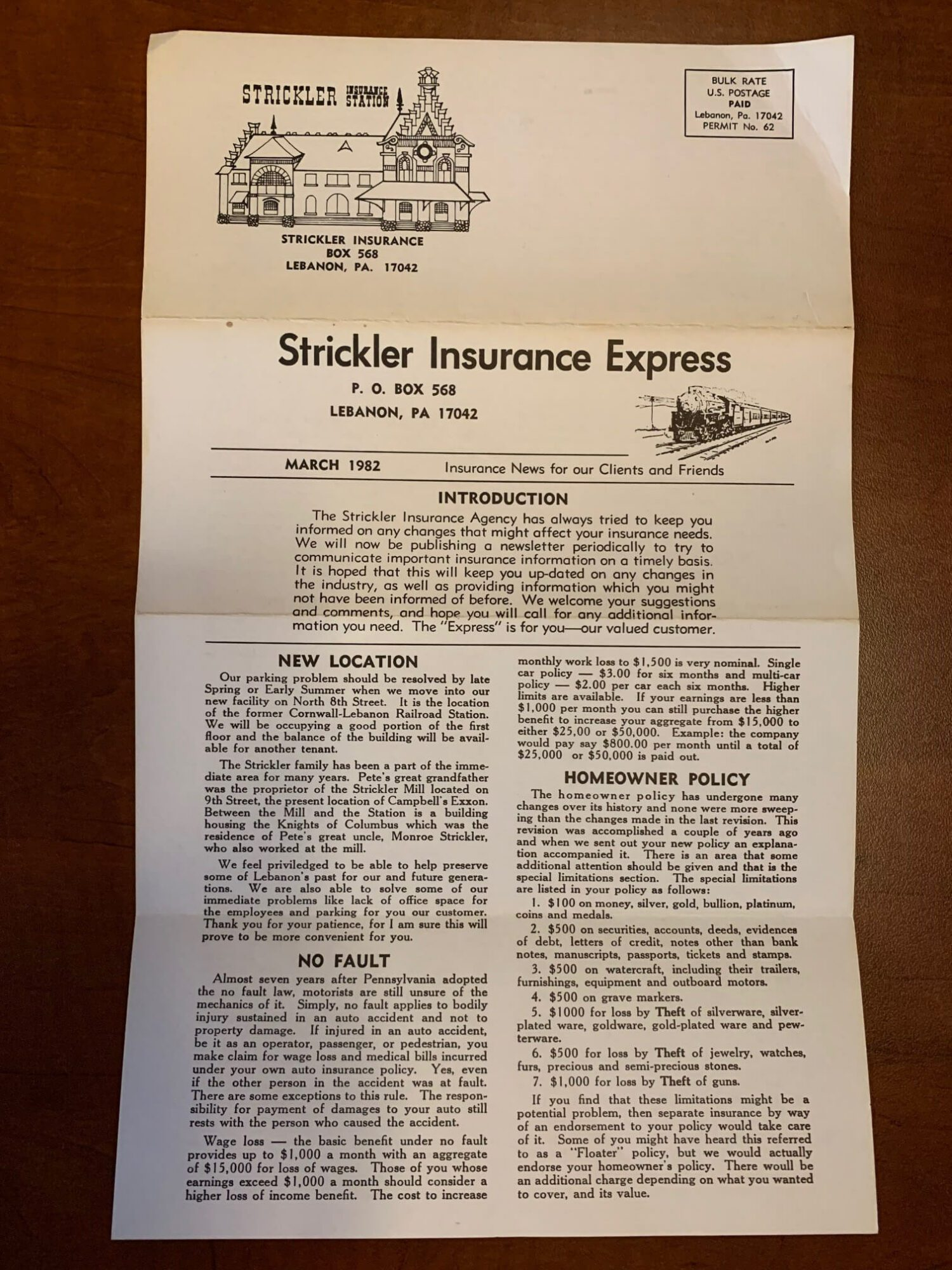 Strickler Express Insurance News From 1982 Front Page.