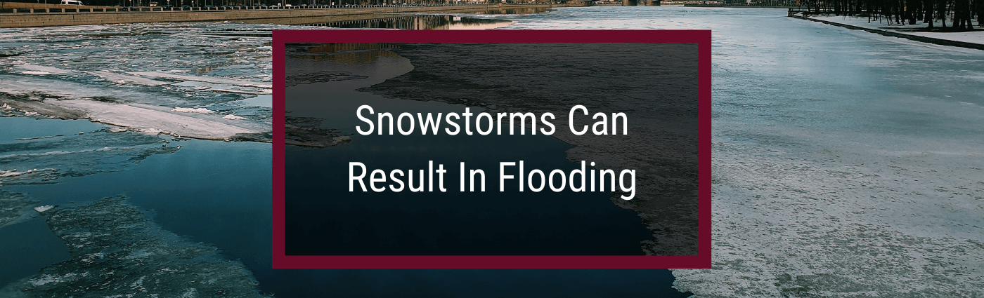 Snow storms result in flooding text over image of partially frozen river.