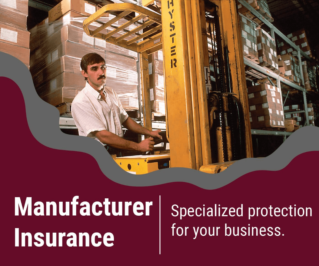 Manufacturer insurance company with man using a fork lift.