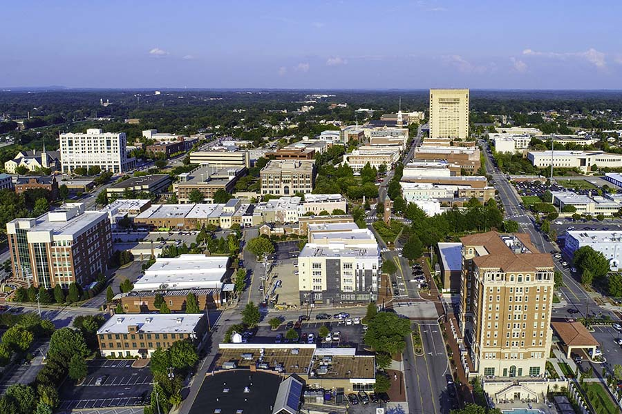 Upstate South Carolina - Aerial View of Downtown Greenville South Carolina