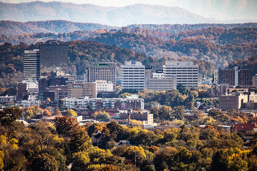 Contact - Great Smoky Mountains Seen From Knoxville, TN with Autumn Trees in the Foreground