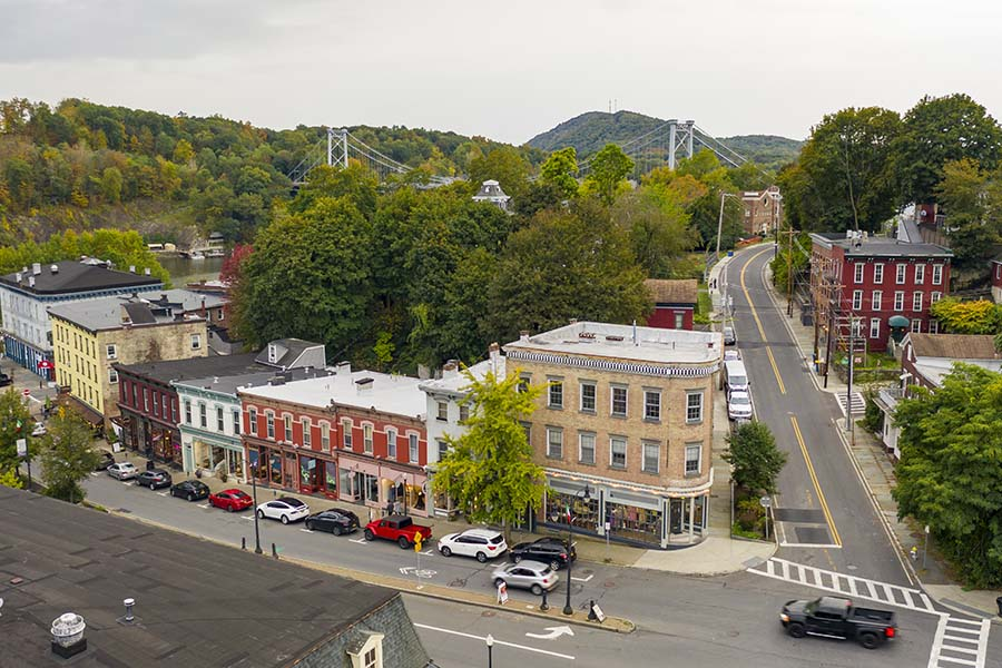 Bloomfield NJ - Aerial View Of Small Town Main Street With Buildings