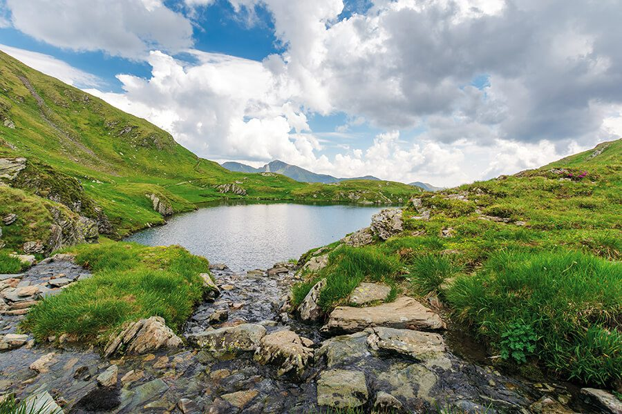 Blog - Lake with Green Hills and Blue Sky