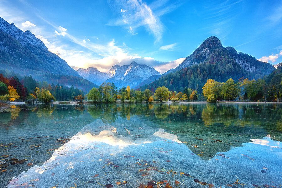 Client Center - Majestic Mountains Reflecting onto Glassy Lake
