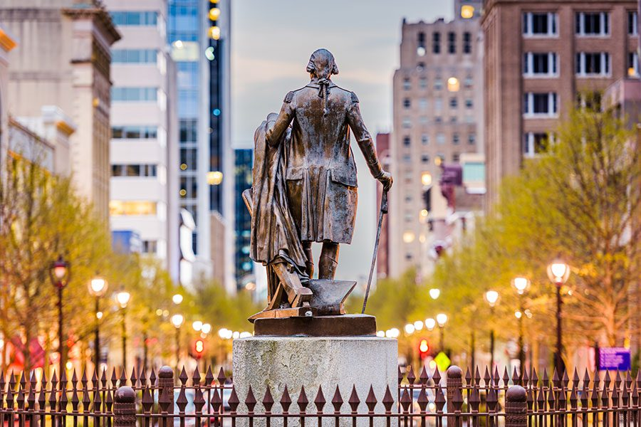 Blog - Downtown of Raleigh North Carolina with Statue and Business Buildings