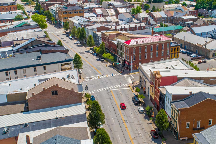 Madison IN - View of Downtown Madison Indiana with Rows of Small Businesses Along Main Street