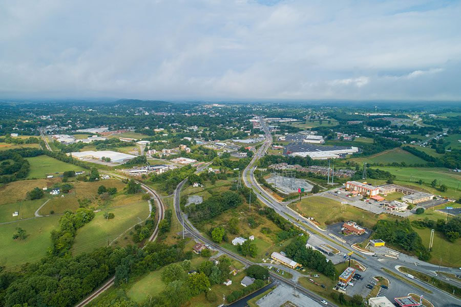 Wytheville VA - Aerial View Of Small Town Wytheville Virgina