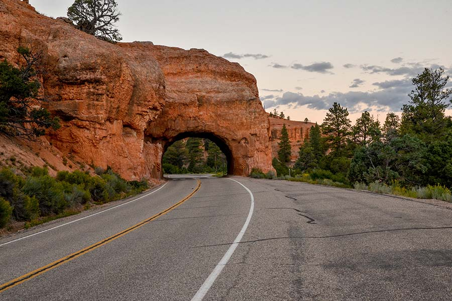 Clearfield UT - View Of Road And Natural Rock Tunnel In National Park In Clearfield Utah
